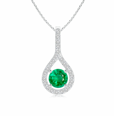 Prong-Set Floating Emerald Drop Pendant with Diamond Accents
