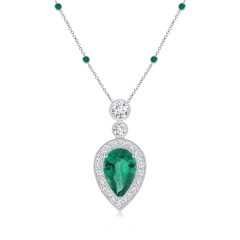 Emerald Halo Necklace with Yard Chain (GIA Certified Emerald)
