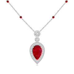 Pear Shaped Ruby Necklace Pendant with Diamond Halo