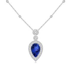 Pear Shaped Tanzanite Necklace Pendant with Diamond Halo