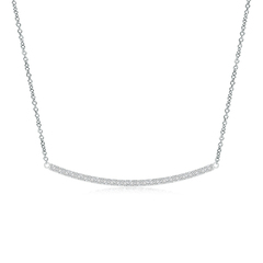 Classic Diamond Curved Bar Necklace Pendant