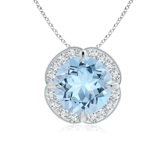 Claw Set Aquamarine Clover Necklace Pendant with Diamond Halo