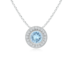 Aquamarine Pendant Necklace with Diamond Halo