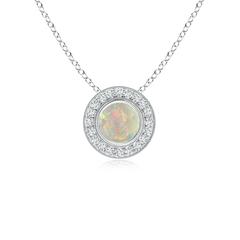 Opal Pendant Necklace with Diamond Halo