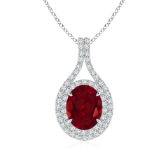 Oval Garnet Double Halo Pendant Necklace