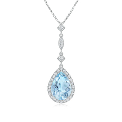Pear Shaped Aquamarine Teardrop Pendant with Diamond Accents