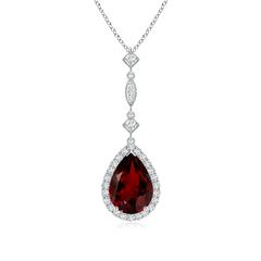 Pear Shaped Garnet Teardrop Pendant with Diamond Accents
