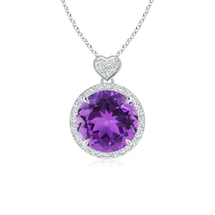 Round Amethyst Halo Pendant with Diamond Heart Motifs