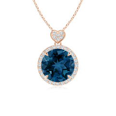 London Blue Topaz and Diamond Halo Pendant with Heart Motif