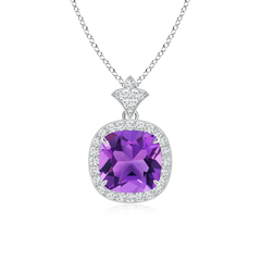 Claw Set Amethyst Diamond Pendant with Milgrain Detailing