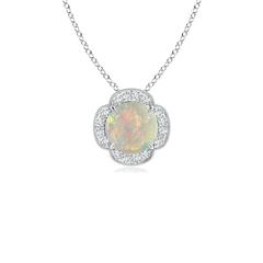 Claw Set Diamond Halo Cabochon Opal Clover Pendant