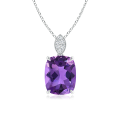 Cushion Cut Amethyst Solitaire Pendant with Diamond Bail