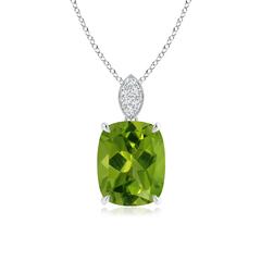 Cushion Cut Peridot Solitaire Pendant with Diamond Bail