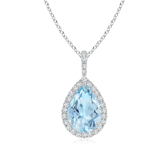 Diamond Halo Pear Shaped Aquamarine Drop Pendant