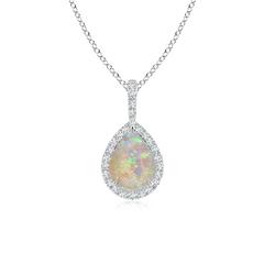 Diamond Halo Pear Shaped Cabochon Opal Drop Pendant