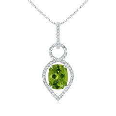 Cushion Peridot Infinity Drop Pendant with Diamonds