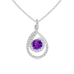 Double Loop Twist Amethyst and Diamond Halo Pendant