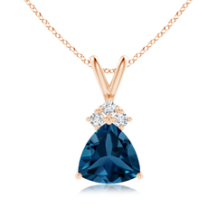 Trillion London Blue Topaz Pendant with Trio Diamonds