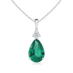Claw-Set Emerald Drop Pendant with Diamonds (GIA Certified Emerald)