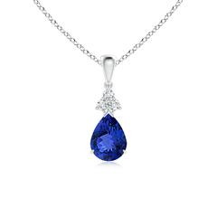 Claw Set Pear Tanzanite Drop Pendant with Trio Diamonds