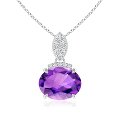 Claw Set Oval Amethyst Solitaire Pendant with Diamond Accents
