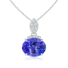 Claw Set Oval Tanzanite Solitaire Pendant with Diamond Accents