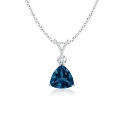 Trillion London Blue Topaz Solitaire Pendant with Diamond