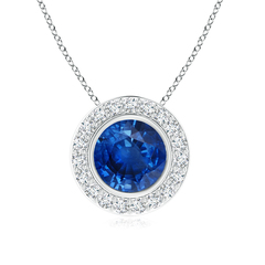 Round Bezel Set Sapphire Pendant with Diamond Halo