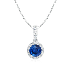 Dangling Sapphire Pendant Necklace with Diamond Halo
