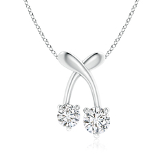 Two Stone Diamond Cherry Pendant Necklace