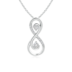 Twisted Two Stone Diamond Infinity Pendant Necklace