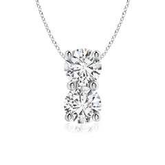 Classic Two Stone Diamond Pendant Necklace