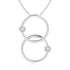 2-Stone Diamond Necklace with Two Interlocking Rings