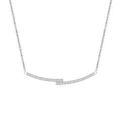 Contemporary Diamond Double Bar Pendant Necklace