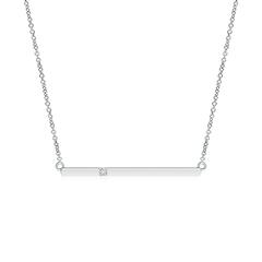 Solitaire Diamond Bar Pendant Necklace
