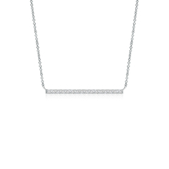 Contemporary Diamond Bar Pendant Necklace
