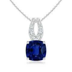 Cushion Sapphire and Diamond Pendant (GIA Certified Sapphire)