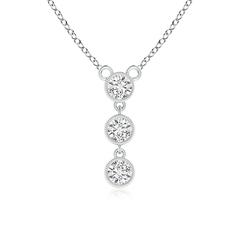 Bezel-Set Three Stone Diamond Pendant Necklace