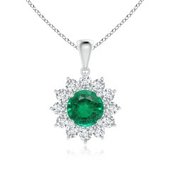 Emerald and Diamond Flower Halo Pendant (GIA Certified Emerald)