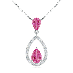 Pear Pink Sapphire Drop Pendant with Diamond Outline