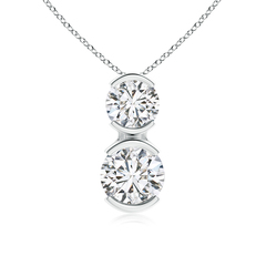 Semi-Bezel-Set Two Stone Diamond Pendant Necklace