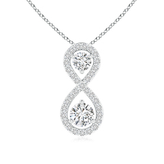 Double Diamond Infinity Pendant Necklace with Prong Set