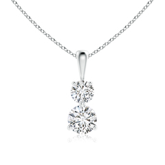 3 Prong-Set Two Stone Diamond Pendant Necklace