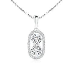 Two Stone Diamond Halo Pendant Necklace