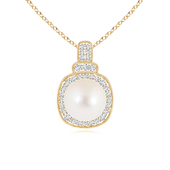 Rope-Edged Freshwater Cultured Pearl Vintage Pendant with Diamond Halo