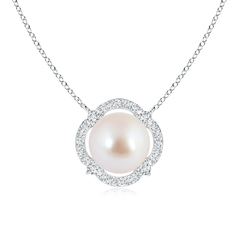 Floating Akoya Cultured Pearl Pendant Necklace with Diamond Halo