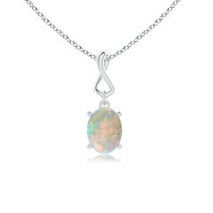 Solitaire Oval Opal Infinity Drop Necklace Pendant