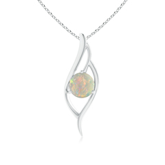 Bypass Round Opal Angel Wing Pendant