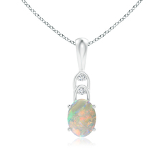 Solitaire Oval Opal Pendant with Diamonds