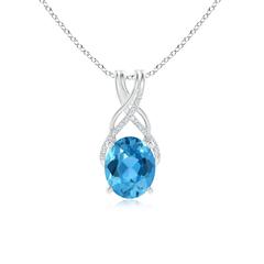 Solitaire Oval Swiss Blue Topaz Criss Cross Pendant with Diamonds